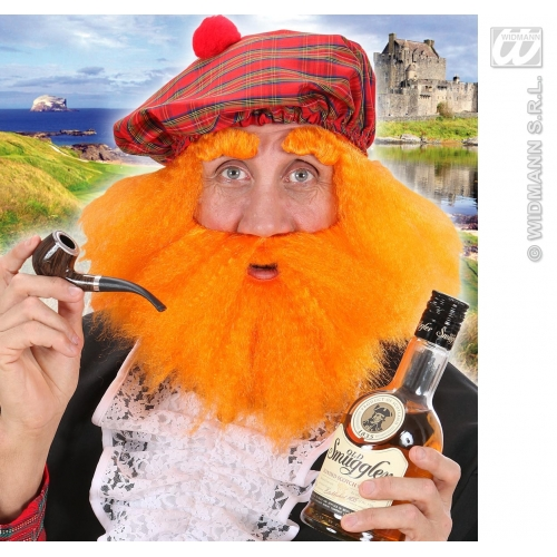 SCOTTISH HAT W/ WIG BEARD BROWS Accessory for Scotland Highland Jock Jimmy Fancy Dress