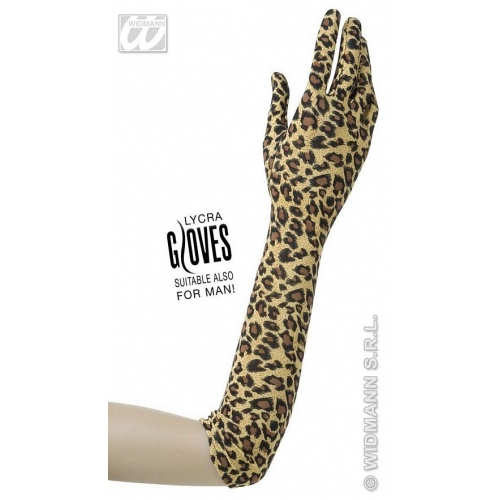Ladies GLOVES 42cm LEOPARD Accessory for Spotty Cat Jungle Animal Fancy Dress 1Size Adults Female