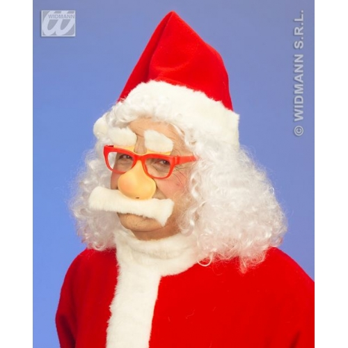 SANTA GLASSES W/NOSE TASH EYEBROWS Accessory for Father Christmas Fancy Dress