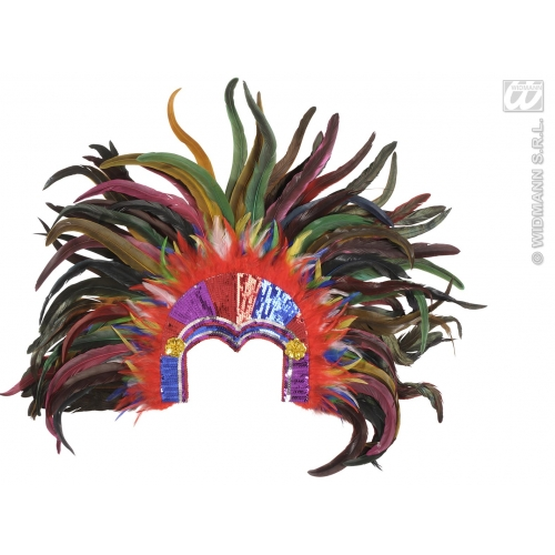 TROPICANA CARNIVAL SEQUIN HEADDRESS MULTICOLOUR Hat Accessory for Circus Parade Clown Fancy Dress