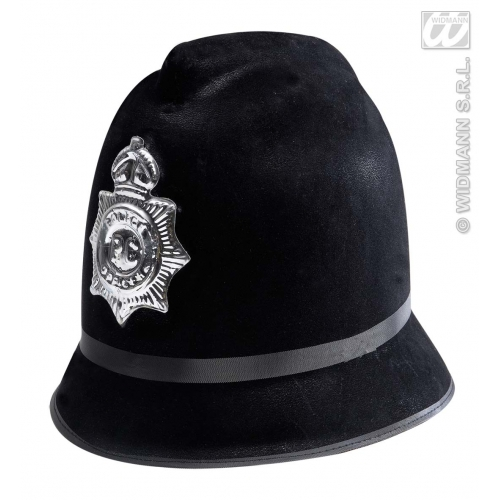 FLOCKED BOBBY POLICE HAT Accessory for Policeman Police Cop Fancy Dress