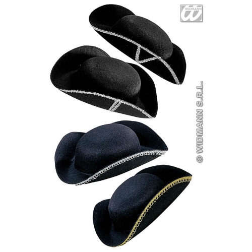 TRICORN HAT FELT DECORATED Accessory for Pirate Dick Turpin Fancy Dress