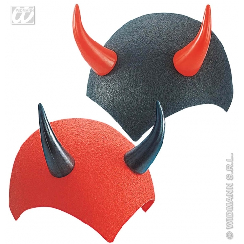 FELT DEVIL CAP RED / BLACK Hat Accessory for Satan Lucifer Demon Antichrist Halloween Fancy Dress
