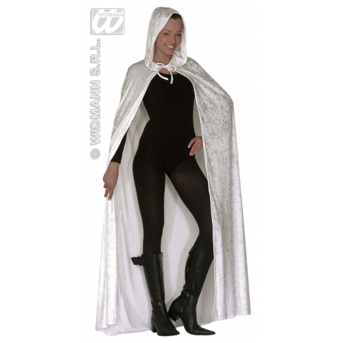 HOODED VELVET CAPE 150cm WHITE Accessory for Superhero Villian Super Hero Fancy