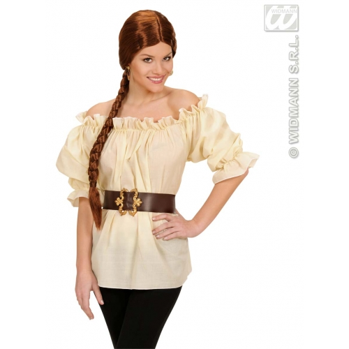 M Ladies Adult Beige VICTORIAN BLOUSE (M) Costume for 18th Century Dickensian Edwardian Fancy Dress Outfit Medium UK 10-12 Unisex