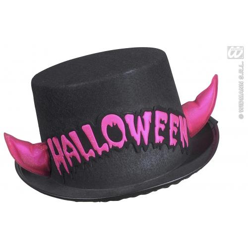 FELT HALL TOP HAT W/PINK REFL. HORNS Accessory for Devil Hen Satan Animal Fancy Dress