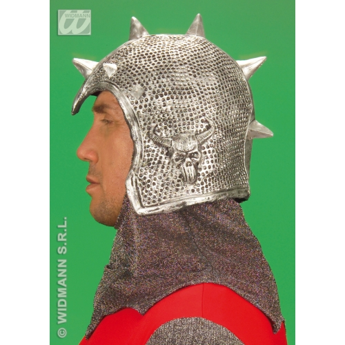 SPIKED WARRIOR HELMET LATEX Hat Accessory for Ancient Roman Greek Centurion Soldier Fancy Dress