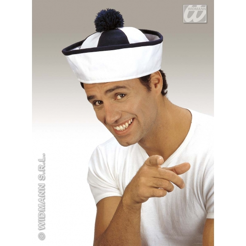 SAILOR HAT FABRIC BLUE/WHT W/BOBBLE Accessory for Navy Crew Military Seaman Fancy Dress