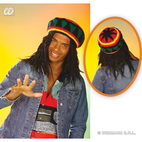 HAT REGGAE RASTA TAM Accessory for Jamaican Hippie Fancy Dress