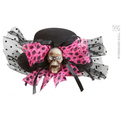 SKULL MINI TOP HAT WITH BOW Accessory for Skeletal Head Skeleton Halloween Pirate Fancy Dress
