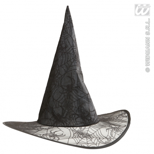 WITH GLITTER SPIDERMESH WITCH HAT Accessory for Gothic Spider Witch Halloween Fancy Dress