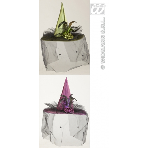 WITCH HAT W/VEIL FLOWER & FEATHERS (green or purple) Accessory for Halloween Oz Eastwick Fancy Dress