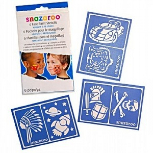 BOYS - Packet of 6 Child Unisex FACE PAINT STENCILS Accessory for Fancy Dress Unisex Kids