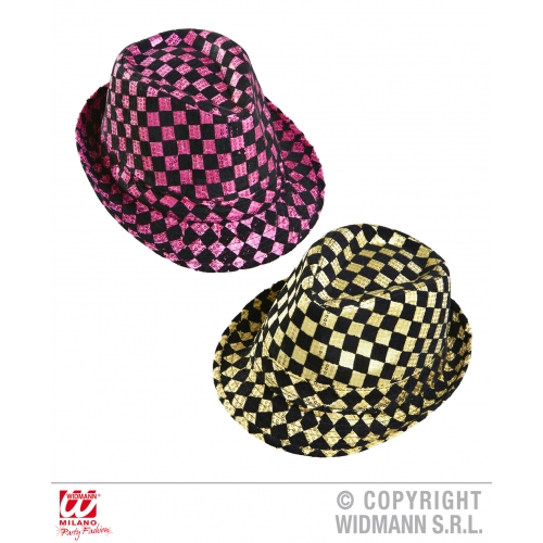CHEQUERED SEQUINED FEDORA (pink or gold) Hat Accessory for 50s 60s Rockabilly Fa