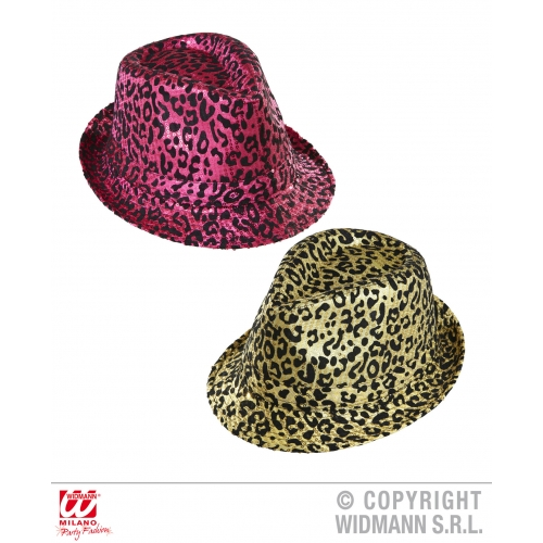 ANIMAL PRINT SEQUINED FEDORA (pink or gold) Hat Accessory for Creature Nature Zo