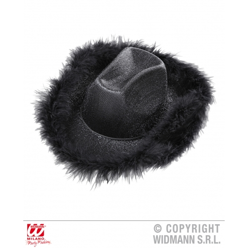BLACK LUREX (with marabou trim) COWGIRL HAT Accessory for American Wild West Cow