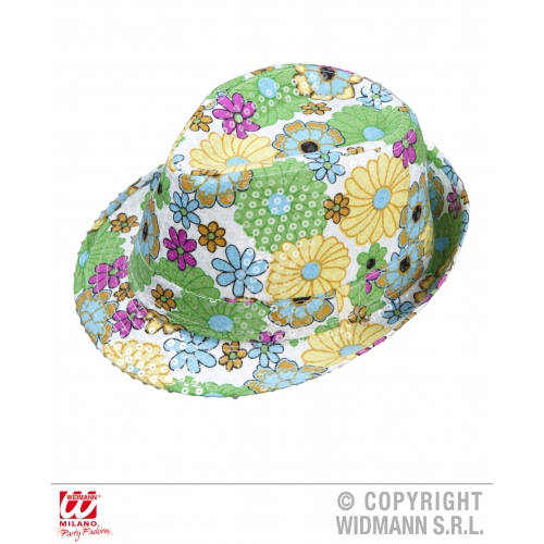 FLOWER SEQUINNED FEDORA Hat Accessory for 50s 60s Rockabilly Fancy Dress
