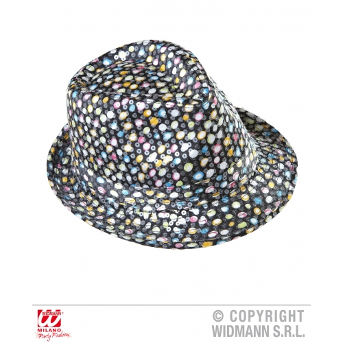 SEQUINNED FEDORA MULTICOLOUR POLKA DOTS Hat Accessory for 50s 60s Rockabilly Fan