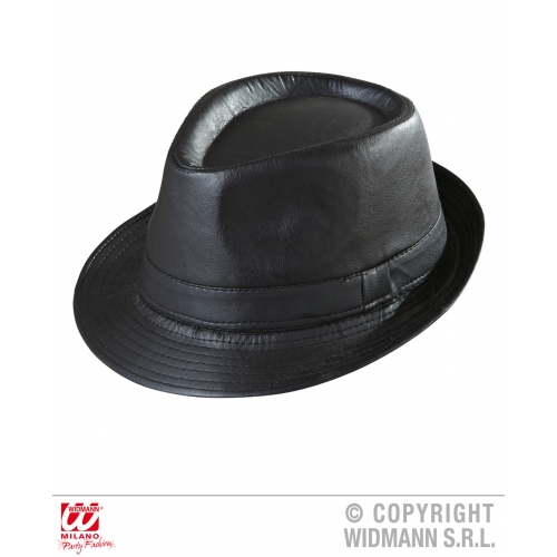 BLACK LEATHERLOOK FEDORA Hat Accessory for 50s 60s Rockabilly Fancy Dress