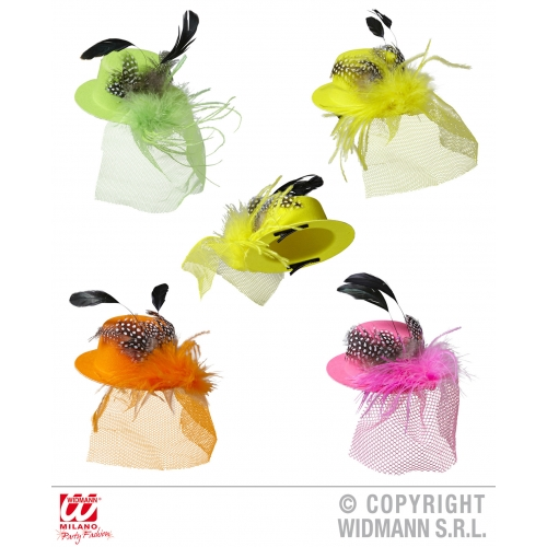 MINI HEN PARTY HAT WITH FEATHERS & VEIL 1 of 4 colours for Bridesmaid Bridal Sho