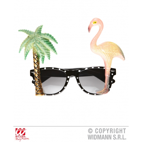 FLAMINGO TROPICAL GLASSES Accessory for Hawaiian Beach Summer Fancy Dress