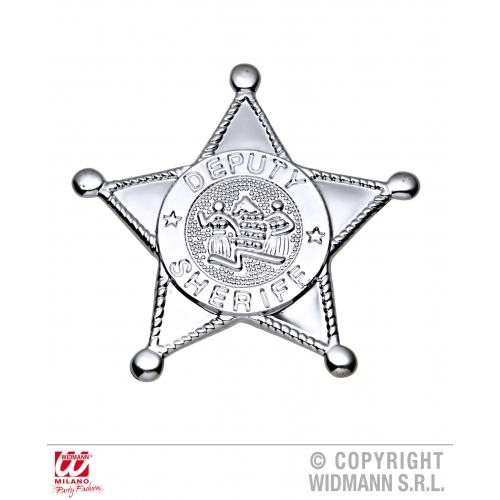 SILVER SHERIFF STAR BADGE Accessory for Wild West Cowboy Cop Police Bounty Hunte