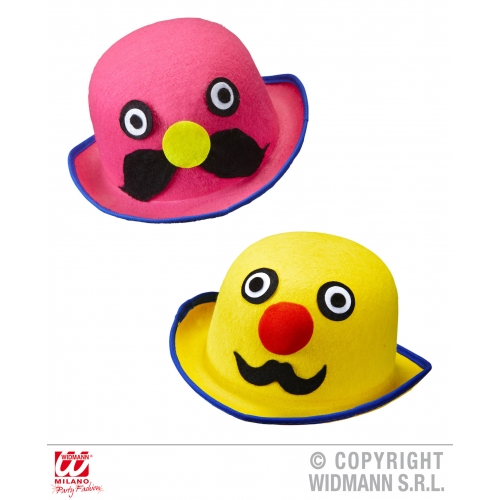 Mens Felt MR. MOUSTACHE BOWLER pink/yellow Hat Accessory for Laurel hardy Victor
