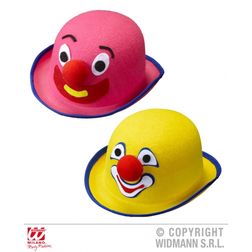 Felt CLOWN BOWLER pink/yellow Hat Accessory for Circus FunFair Parade Fancy Dres