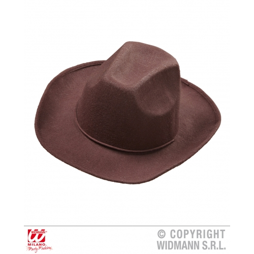 BROWN COWBOY HAT REAL LOOK COWBOY HAT Accessory for American Wild West & Indians