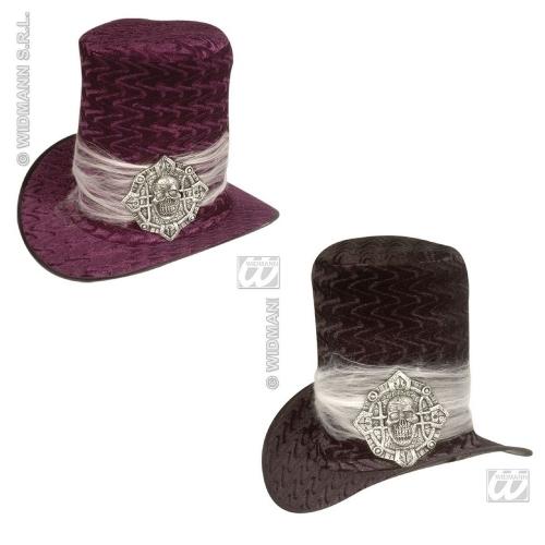 VELVET SKULL TOPPER (black or purple) Hat Accessory for Skeletal Head Skeleton Halloween Pirate Fancy Dress