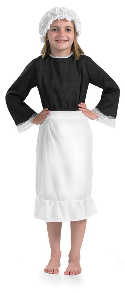 Girls Victorian White Kitchen Hat & Apron Accessory For Downton Fancy Dress Kids