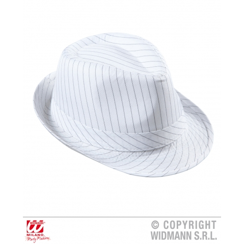 WHITE PINSTRIPED FEDORA Hat Accessory for 50s 60s Rockabilly Fancy Dress