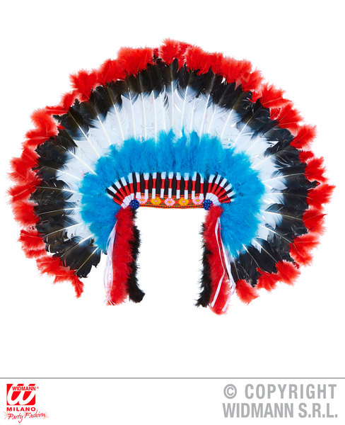 HEADDRESS WITH MARABOU DELUXE INDIAN Accessory for Native Wild West American Cowboys Fancy Dress