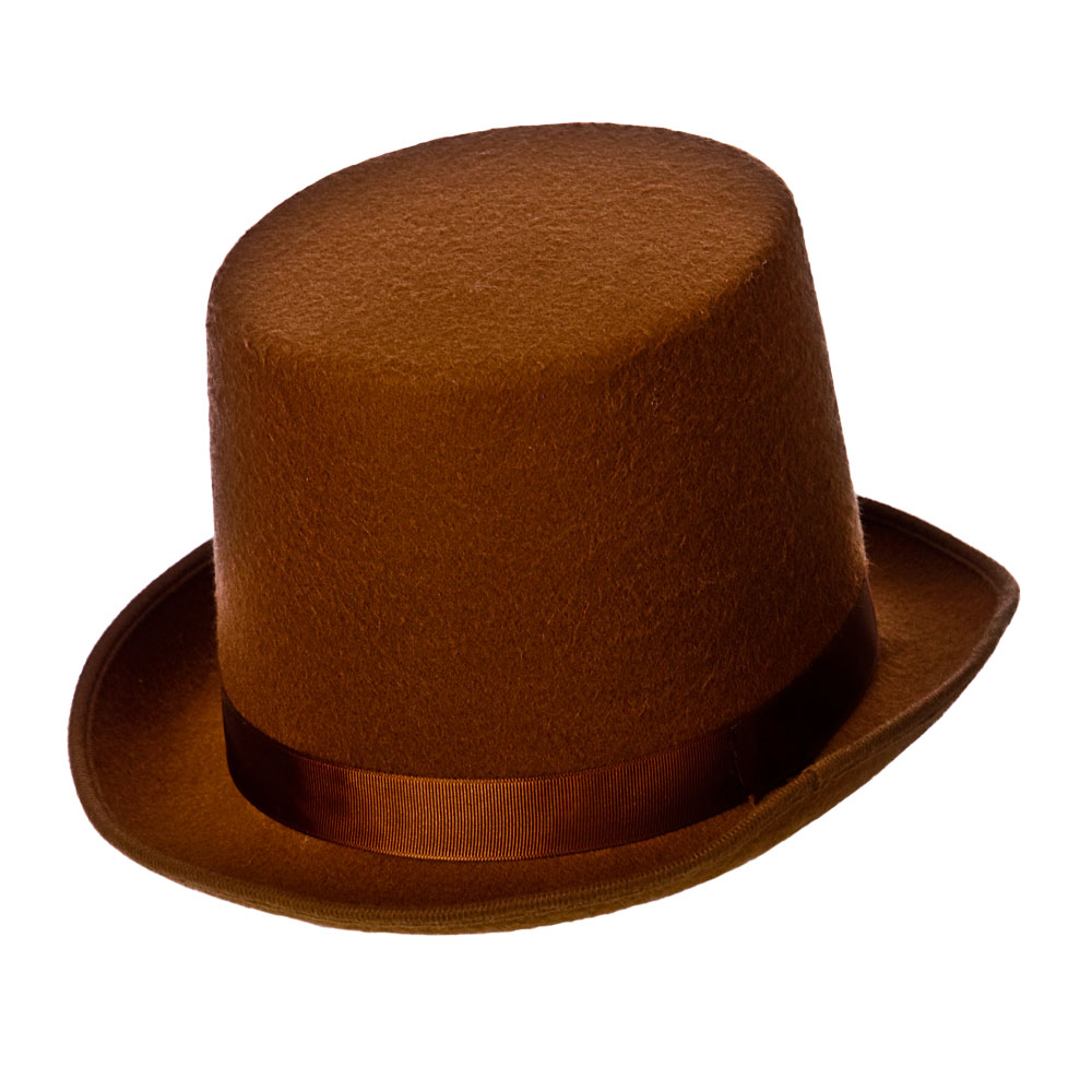 Victorian Brown Top-Hat for 18th Century Dickensian Edwardian Fancy Dress