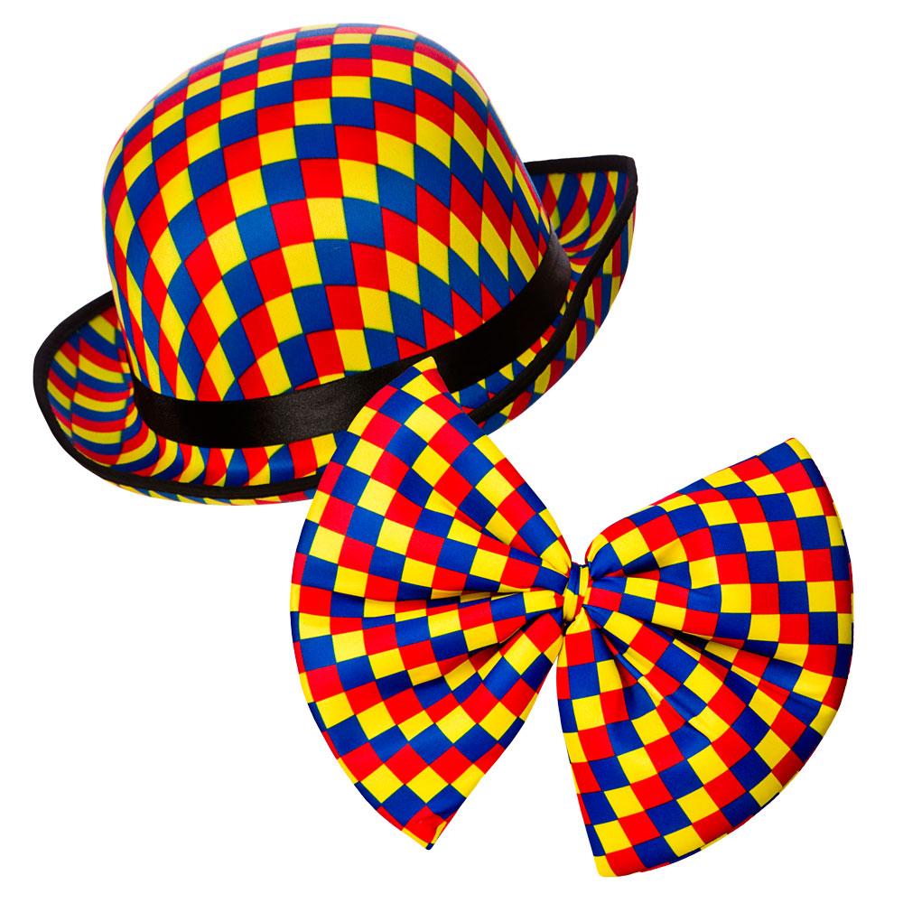 Clown Bowler Hat & Bow Tie for Circus Funfair Parade Fancy Dress