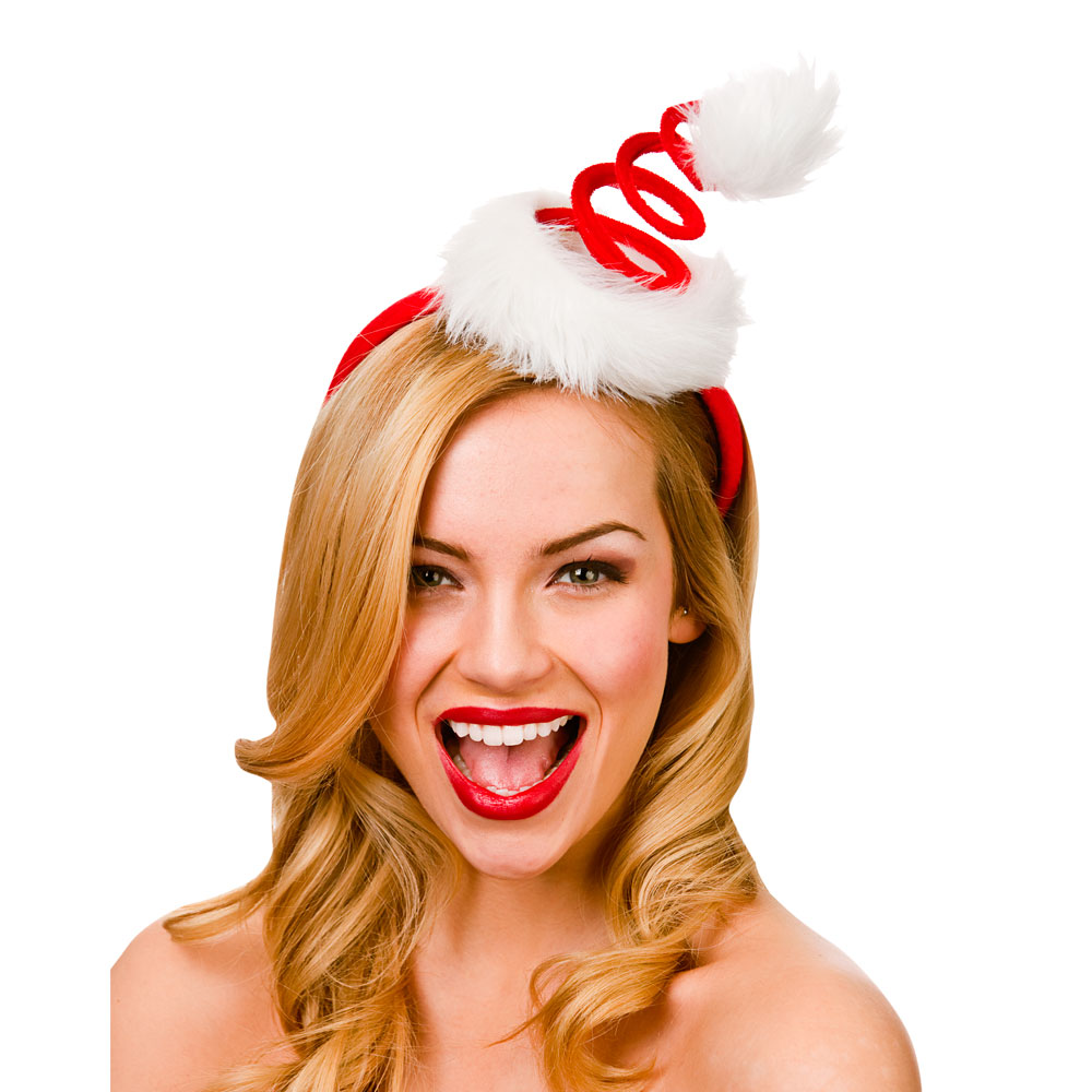 Adults Spiral Santa Hat On Headband-Adult for Father Christmas Fancy Dress