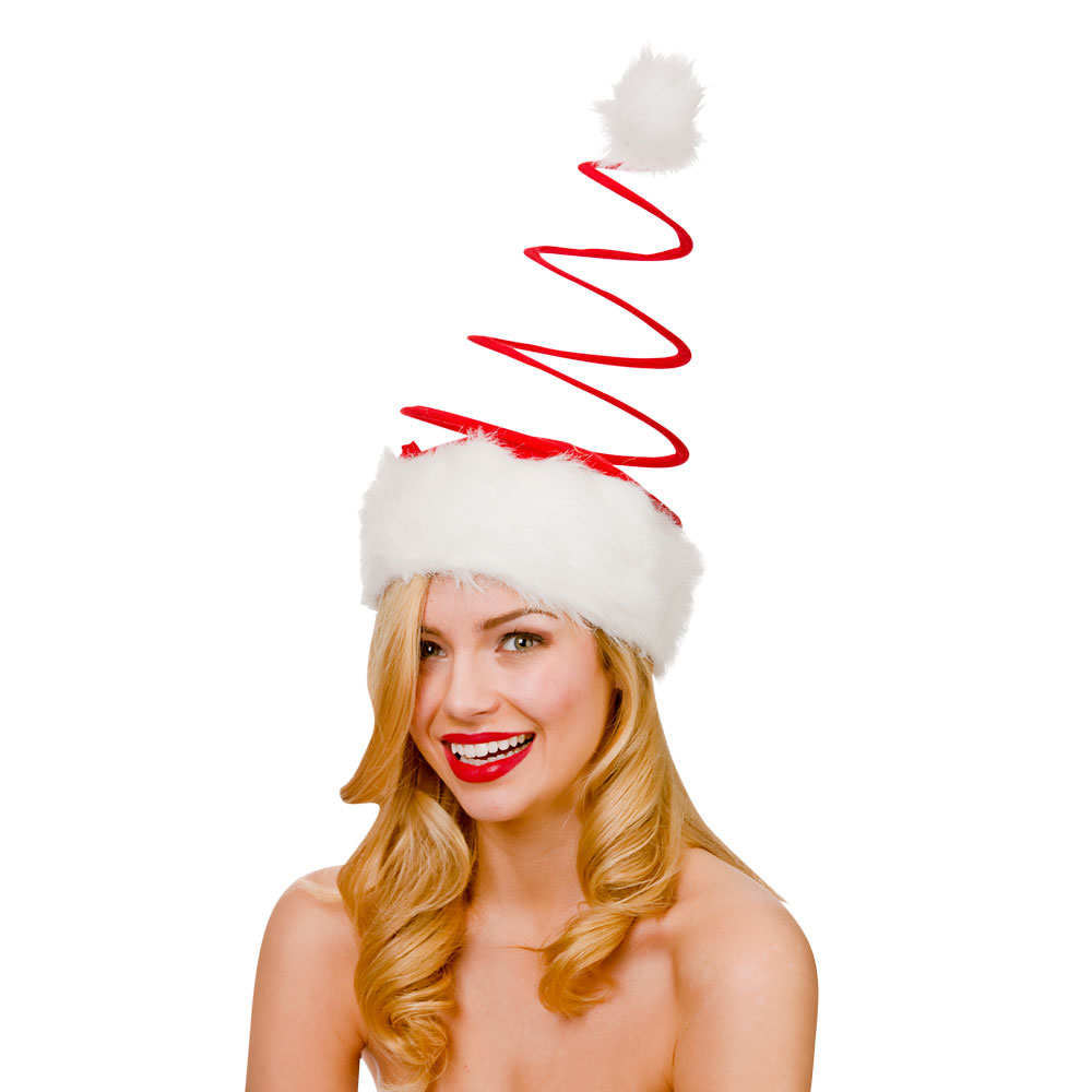 Adults Unisex Large Spiral Santa Hat Adult for Father Christmas Fancy Dress