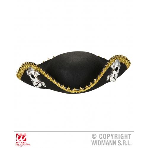 SKULL & CROSSBONE TRICORN Hat Accessory for Skeletal Head Skeleton Halloween Pir
