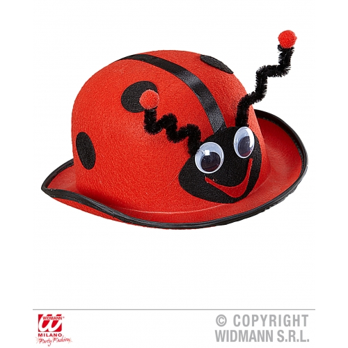 LADYBUG BOWLER Hat Accessory for Ladybird Bug Insect Creepy Crawly Fancy Dress