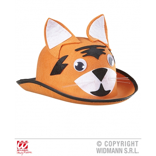 TIGER BOWLER Hat Accessory for Indian Jungle Animal Cat Feline Fancy Dress