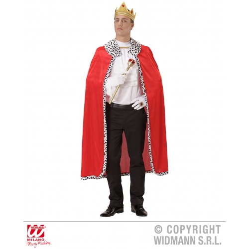 Mens KING CAPE & CROWN SET Accessory for Royal Regal Sire Medieval Leader Ruler