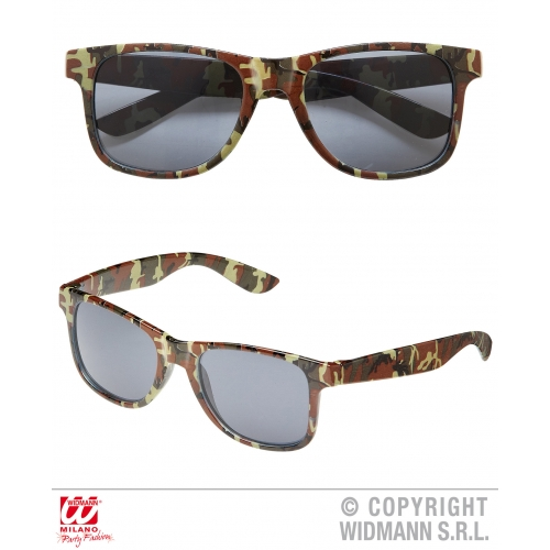 CAMOUFLAGE GLASSES Accessory for Army Soldier Superhero Fancy Dress
