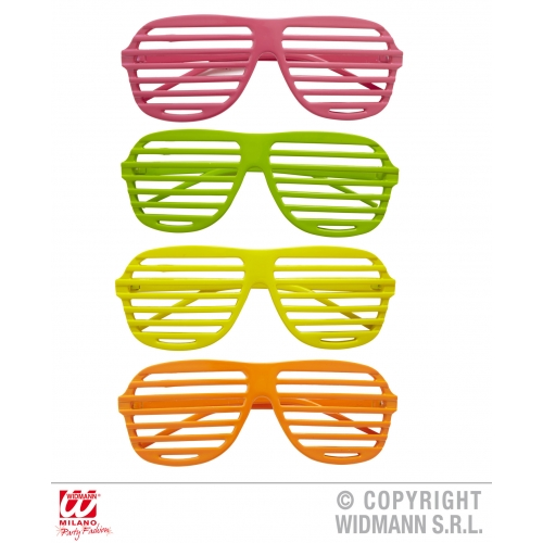1 Pair of NEON SHUTTER GLASSES pink/green/yellow/orange 90s Accessory for 90s Br