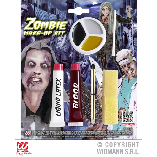 ZOMBIE MAKE UP KIT (liquid latex blood pencils makeup tray) SFX for TWD Hallowee