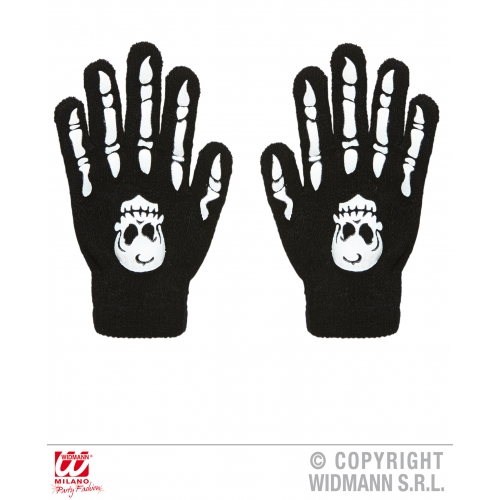Ladies BONE GLOVES WITH SKULLS Accessory for Skeleton Pirate Dinosaur Fancy Dres