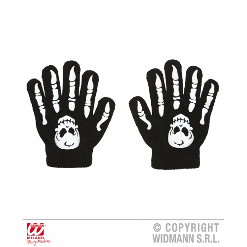 Child Unisex BONE GLOVES WITH SKULLS Accessory for Skeleton Pirate Dinosaur Fanc