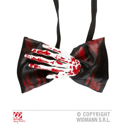 BLOODY SKELETON HAND BOW TIE Accessory for Bleeding Wound Vampire Fancy Dress
