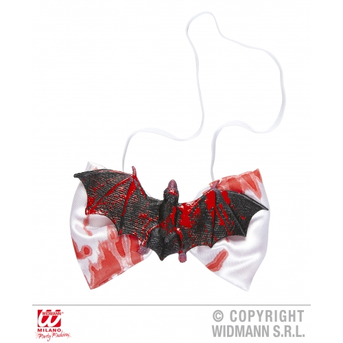 BLOODY BAT BOW TIE Decoration for Bleeding Wound Vampire Party