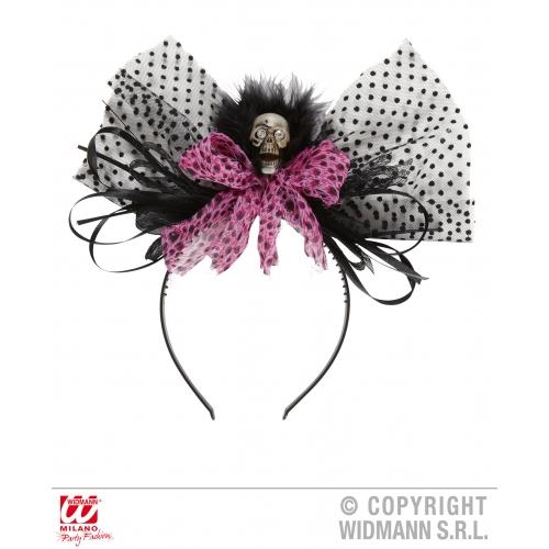 PINK SKULL BOW HEADDRESS Hat Decoration for Skeletal Head Skeleton Halloween Pir