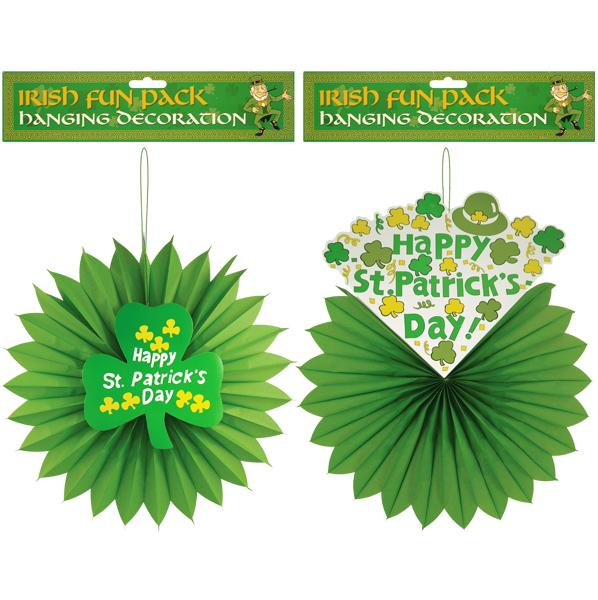 St Patrick Hanging Swirl Honeycombe Decoration Party Ireland